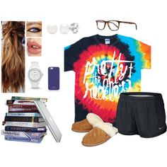 \\Cause When You're Talking Out Loud But Nobody's There. You Look Like Hell And You Just Don't Care. Drinking More Than You've Ever Drank. Sinking Down Lower Than You've Ever Sank// by bubblebuddy855 on Polyvore featuring NIKE, UGG Australia, FOSSIL, Oliver Peoples, Kate Spade, Charlotte Tilbury and GALA