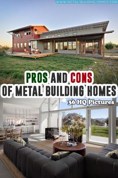Pros and Cons of Metal Building Homes. In recent times, there are so many innovations surfacing, and one of them is steel houses. Recently, there are many families who are planning to get a metal home instead of going for the traditional houses. Metal House Plans, Pole Barn House Plans, Pole Barn Homes, Metal House Kits, Barn Plans, Morton Building Homes, Steel Building Homes, Building A House, Metal Building Houses