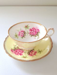 Vintage Paragon Buttercup Yellow Tea Cup and Saucer