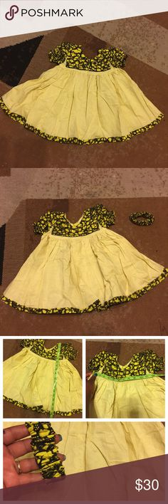 Beautiful baby gawn Yellow linen with African fabric wears for your Precious Baby from 18-24month old. Pls see photo for measurements. No hold and no trade. Handmade Dresses Casual