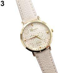 Womens-Geneva-Faux-Leather-Band-Catchy-Flower-Casual-Analog-Quartz-Wrist-Watch