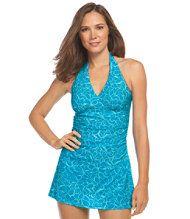 Slimming Swimwear, Clasp Halter Dress Print