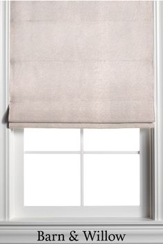 Made of velvet, this custom window shade is hand-stitched by expert hands and adds a touch of texture and style to any room. Custom Roman Shades, Window Coverings, Barn, Velvet, Hands, Windows, Curtains, Beige, Touch