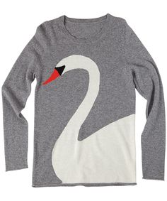 crewneck intarsia sweater swan – Virginia Johnson