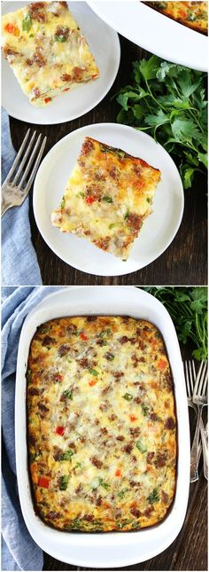 Sausage, Cheese, and Potato Egg Casserole Recipe on twopeasandtheirpo. This easy egg casserole can be made in advance and is perfect for Christmas morning! dinner ideas for christmas Potato Egg Casserole, Breakfast Potatoes, Breakfast Casserole Sausage, Casserole Recipes, Casserole Dishes, Breakfast Items, Breakfast Dishes, Best Breakfast, Breakfast Recipes