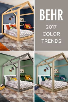 The 2017 BEHR Color Trends are here to solve all your design dilemmas. If you're wondering what shade to paint your bedroom, check out Peek a Blue for a beachy feel. Try opting for Midnight Blue as a chic navy blue that will give your space a sophisticated vibe or Balanced for a relaxing vibe.