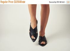On Sale 40% off black leather sandals  peep toe by NormanAndBella