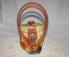 Vintage Mini Small Straw Raffia Purse with Yarn by PuppyLuckArt