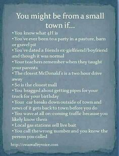 You might be from a small town if ...