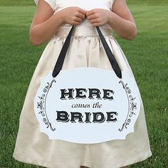 """Here Comes the Bride Two Sided Sign- Adorable! White, two-sided foam core sign with """"Here Comes the Bride"""" on the front and """"Just Married"""" on the reverse side in black.   Pre-drilled holes.  7/8"""" black satin ribbon included to hold or hang sign. #WeddingDresses #WeddingRings #WeddingGifts #Wedding #WeddingIdeas"""