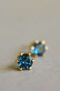 Tiny London Blue topaz stud earrings tiny blue
