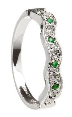 9ab07c3d26cc1 14K White Gold Claddagh Wedding Set with Emerald Heart | wedding ...