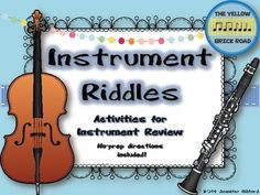 Instrument Riddles: activities and games for... by The Yellow Brick Road | Teachers Pay Teachers