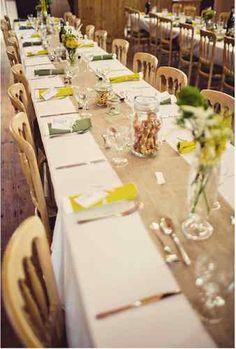 Hessian Jute fabric cut for table runners, weddings