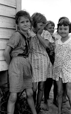 Daughters of farmers near La Forge Project, Missouri, 1938. By Russell Lee
