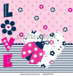 pink ladybug love card vector illustration