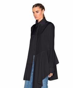 Androla Asymmetrical Pleat Blouse - Black