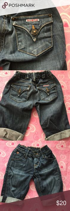 🇬🇧HUDSON🇬🇧 GIRLS JEAN CONVERTED SHORTS SZ 7 🇬🇧HUDSON🇬🇧 GIRLS SIZE 7 JEAN SHORTS. These shorts were once jeans that I cut the legs off to make into shorts (as shown in the last picture). When rolled up, they make perfect shorts & you can not tell they were cut off. Soft lightweight denim. EUC. No stains or holes. The back waistband has stretchy elastic for a great fit. Perfect for HUDSON fans! ⬇️Discount for Bundles of 3 or more! 🅿️🅿️ PayPal Only Accepted. 🚫No Trades. Just looking…