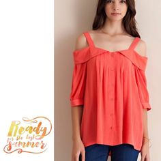 "🌺HOST PICK 11/28🌺BEAUTIFUL OFF SHOULDER TOP Solid, off shoulder, button down top featuring pin tucked detailing. Non sheer, unlined, woven. Lightweight. 100% rayon.                                Length about 29-30"". Coral or Créme.                                                               ♦️SMALL: bust 36""                                        ♦️MEDIUM 38""                                                    ♦️LARGE 40"" tla2 Tops Button Down Shirts"