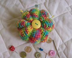 Bright Crochet Pincushion  Cbbcreations by CBBCreations on Etsy, $12.00