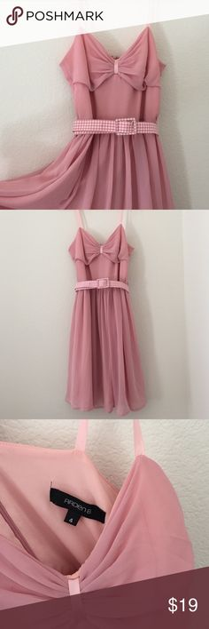 💗Pastel Dusty Pink Floating Retro Ballerina Dress Romantic Chiffon Dress in Pastel Pink. 100% Polyester. Comes with a white-pink Gingham Belt. Cream white Canvas Aldo Platform Heels sold in a separate listing Arden B Dresses Midi
