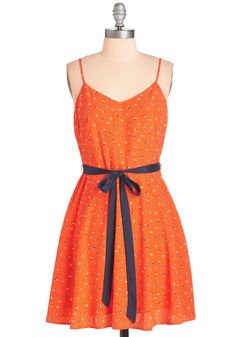 Epic Sail Dress in Tangerine. Your all-time favorite memory floods your mind every time you zip into this printed dress! #orange #modcloth