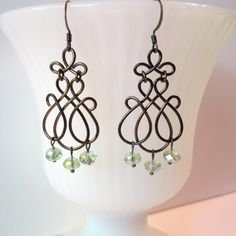 Wire Work Earrings Bronze Wire Work Scrolls Mint by TheWireRose