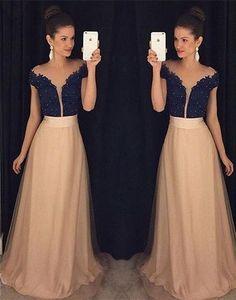 2017 Custom Charming Champagne Chiffon Prom Dress,Off The Shoulder Prom Dress, Beaded Prom Dress,Floor Length Evening Dress