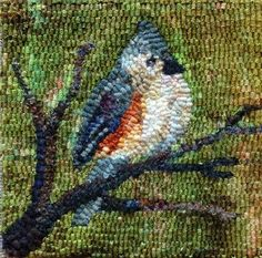 Titmouse designed and hooked by Karen P. from Woolen Tales Rug Art