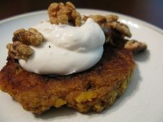 Plantain Pancakes with Maple Coconut Cream and Toasted Walnuts