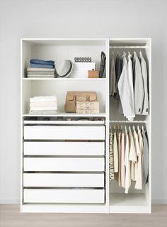 Ikea Pax Closet, Ikea Pax Wardrobe, Closet Hacks, Closet Drawers, Wardrobe Doors, Wardrobe Ideas, Ikea Closet System, Ikea Storage, Closet Storage