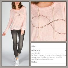 """Full Tilt Infinity Hooded Top From Tilly's. Pale pink burnout style hooded top with an infinity symbol made from the words """"love the life you live, live the life you love"""" Lightweight and perfect for summer nights with just a slight chill in the air. True color is a pale pink like stock photos. Full Tilt Tops"""
