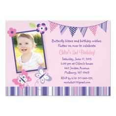 Shop Pink & Purple Butterfly Birthday Invitation created by LittlePrintsParties. Butterfly 1st Birthday, Butterfly Party, Purple Butterfly, 2nd Birthday, Birthday Parties, Flower Birthday, Birthday Ideas, 1st Birthday Invitations, Birthday Wishes