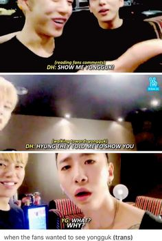 Even the ones they ask for don't understand. B.A.P. Daehyun YoungJae YongGuk