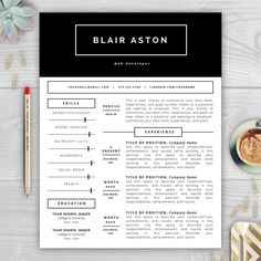 Blair Aston is a chic and modern resume template perfect for anyone in need of a resume makeover. The resume design features a black header