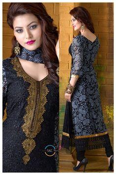 Black Indian Pakistani Bollywood Designer Georgette Salwar Kameez Ethnic Wear - Rs. 2199.00
