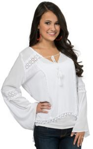Surf Gypsy Women's White with Floral Crochet & Pom Pom Trim Long Sleeve Top | Cavender's