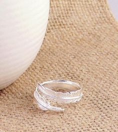 Adjustable Feather Wrap Ring in Sterling Silver