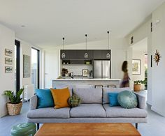 Lounge suites make or break the living area, so make sure you get it right. Timber Ceiling, Floor To Ceiling Windows, Container House Design, Container Homes, Contemporary Barn, Lounge Suites, Living Spaces, Living Room, Shed Homes