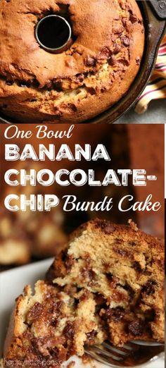 ONE-BOWL Banana Chocolate-Chip Bundt Cake This banana chocolate chip cake is so easy to make and SO moist and delicious. Bonus: You only need 1 bowl to make it! Great as a dessert or as a snacking cake. Everyone LOVES THIS CAKE! Bunt Cakes, Cupcake Cakes, Food Cakes, Rose Cupcake, Köstliche Desserts, Dessert Recipes, Cake Recipes, Picnic Recipes, Health Desserts