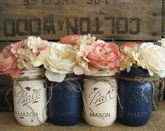 SALE!!! Set of 4 Pint Mason Jars, Ball jars, Painted Mason Jars, Flower Vases, Rustic Wedding Centerpieces, Navy Blue And Creme Mason Jars