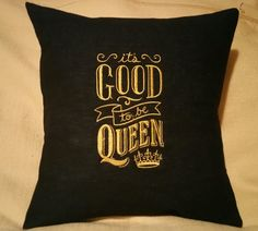 Embroidered pillow cover.