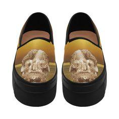 Crystal Skull Gold Selene Deep Mouth Women Shoes (Model 311)