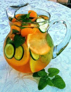 FAT FLUSH WATER !!! Ingredients per pitcher Water 1 slice grapefruit 1 tangerine ½ cucumber, sliced 2 peppermint leaves Ice – as much as you like Directions Wash grapefruit, tangerine cucumber and peppermint leaves. Slice cucumber, grapefruit and tangerine (or peel). Combine all ingredients (fruits, vegetables, 8 oz water, and ice) into a large pitcher.