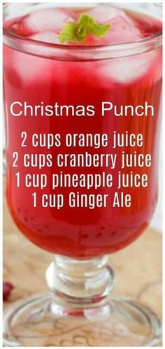 Christmas Punch ~ so simple to make and delicious! We like to serve this punch on Christmas morning. Christmas Punch ~ so simple to make and delicious! We like to serve this punch on Christmas morning. Yummy Drinks, Healthy Drinks, Yummy Food, Refreshing Drinks, Food And Drinks, Healthy Food, Fruit Drinks, Eating Healthy, Christmas Snacks