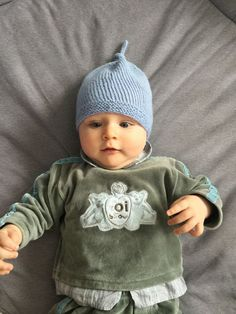 Knit Baby Hat Knitted Baby Beanie Blue Baby Boy by woolpleasure