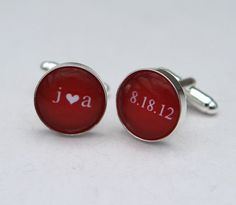 Personalized Cufflinks Red Wedding Cuff Links Custom Color Initials heart Date - Groom Gift from bride, Personalized Wedding Gift for groom. $39.00, via Etsy.