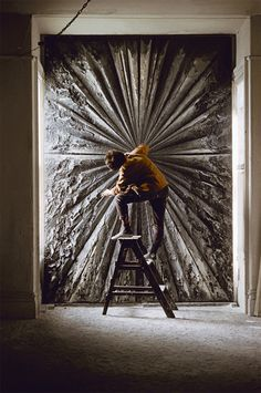 "Jay Defeo was my painting and drawing professor at Mills College in Oakland CA from I last had the chance to see her in 1989 just before she passed. She remains ever in my heart. Image: Burt Glinn, Jay DeFeo working on ""The Rose,"" Burt Glinn/Magnum Photos Art Sculpture, Sculptures, Studios D'art, Abstract Expressionism, Abstract Art, Modern Art, Contemporary Art, Instalation Art, Whitney Museum"