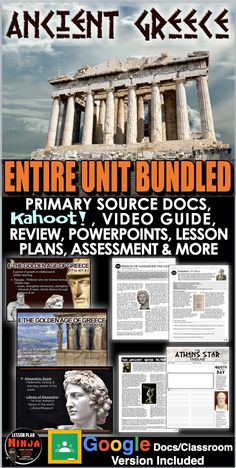 Ancient Greece Entire Unit Bundled includes Ancient Greece PowerPoints with video and presenter notes. Unit also includes, warm up powerpoints, informational text documents with questions, primary source worksheets, maps, exit tickets, crossword review, Kahoot! review game, video/video guide, and editable assessment. Everything is put together with detailed daily lesson plans. Just copy and paste to your lesson plans. #HistoryLessonPlans #Socialstudies #WorldHistoryLessonPlans Psychology Graduate Programs, Colleges For Psychology, History Lesson Plans, World History Lessons, Teaching History, Colleges In Florida, Daily Lesson Plan, Exit Tickets, Primary Sources
