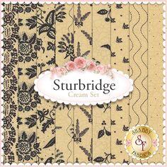 Sturbridge 9 FQ Set - Cream by Kathy Schmitz for Moda Fabrics : Sturbridge is a collection by Kathy Schmitz for Moda Fabrics. 100% Cotton. This set contains 9 fat quarters, each measuring approximately 18